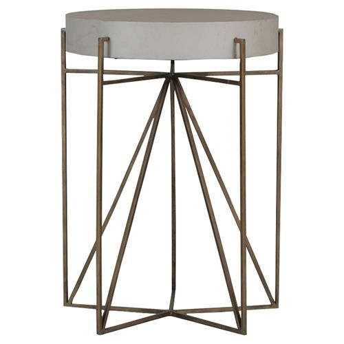 Terpin Modern Brass Teepee Vellum End Table With Images Round