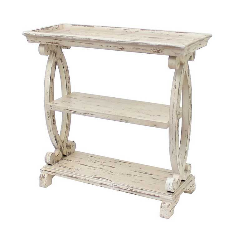 Distressed White Open Shelf Console Table White Console Table
