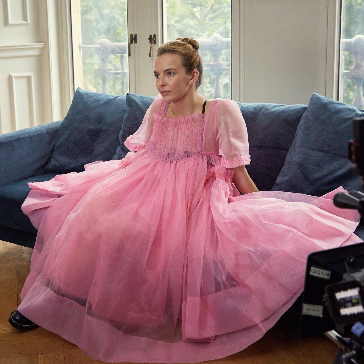 Image Result For Villanelle Pink Dress Pink Dress Purple And Black Dress Dresses [ 1200 x 1200 Pixel ]