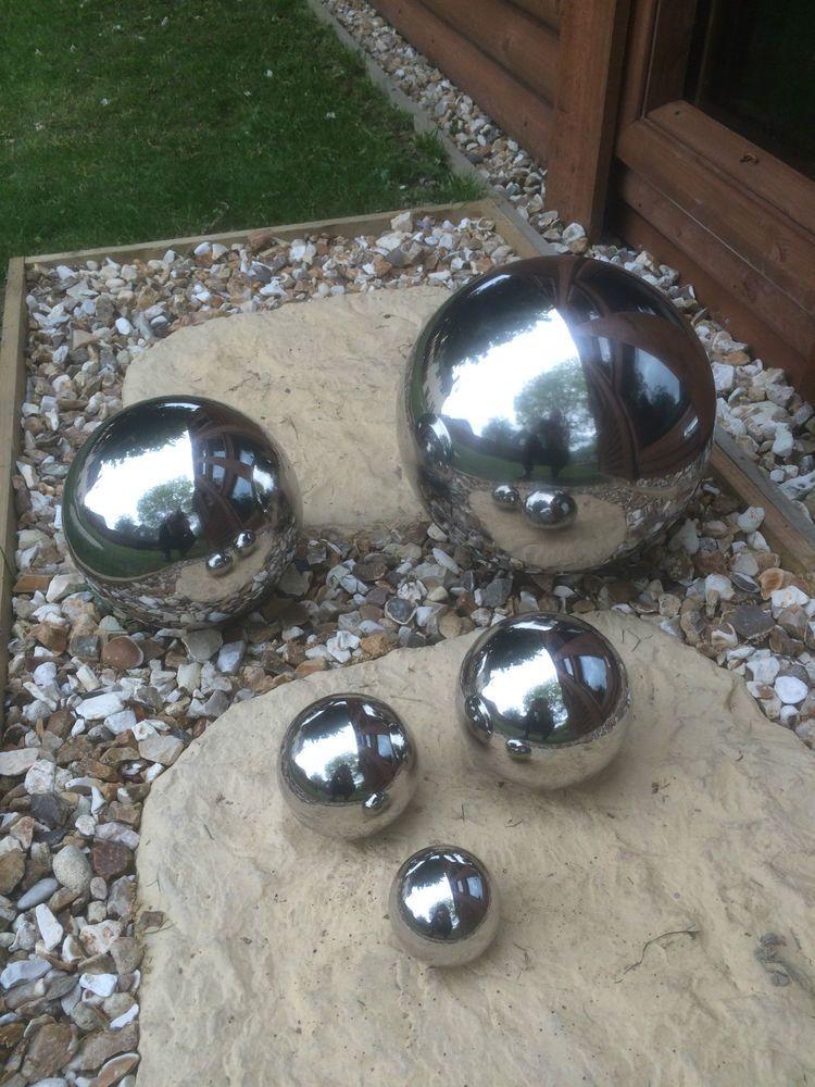 STAINLESS STEEL SPHERE GLOBE GARDEN ORNAMENT MIRROR OUTDOOR POND FLOATING  BALL