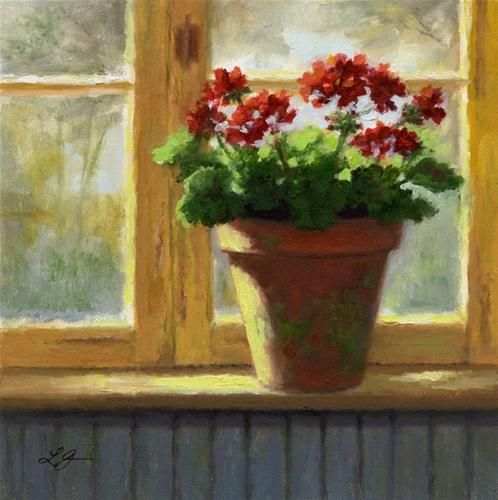 Daily Paintworks Geraniums In The Cottage Windo By Linda