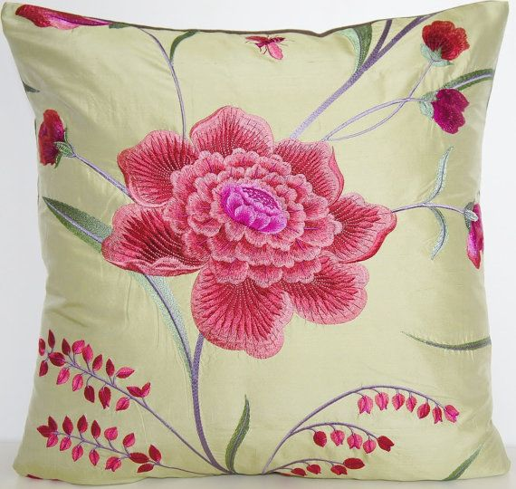 Green Floral Silk Decorative Pillow