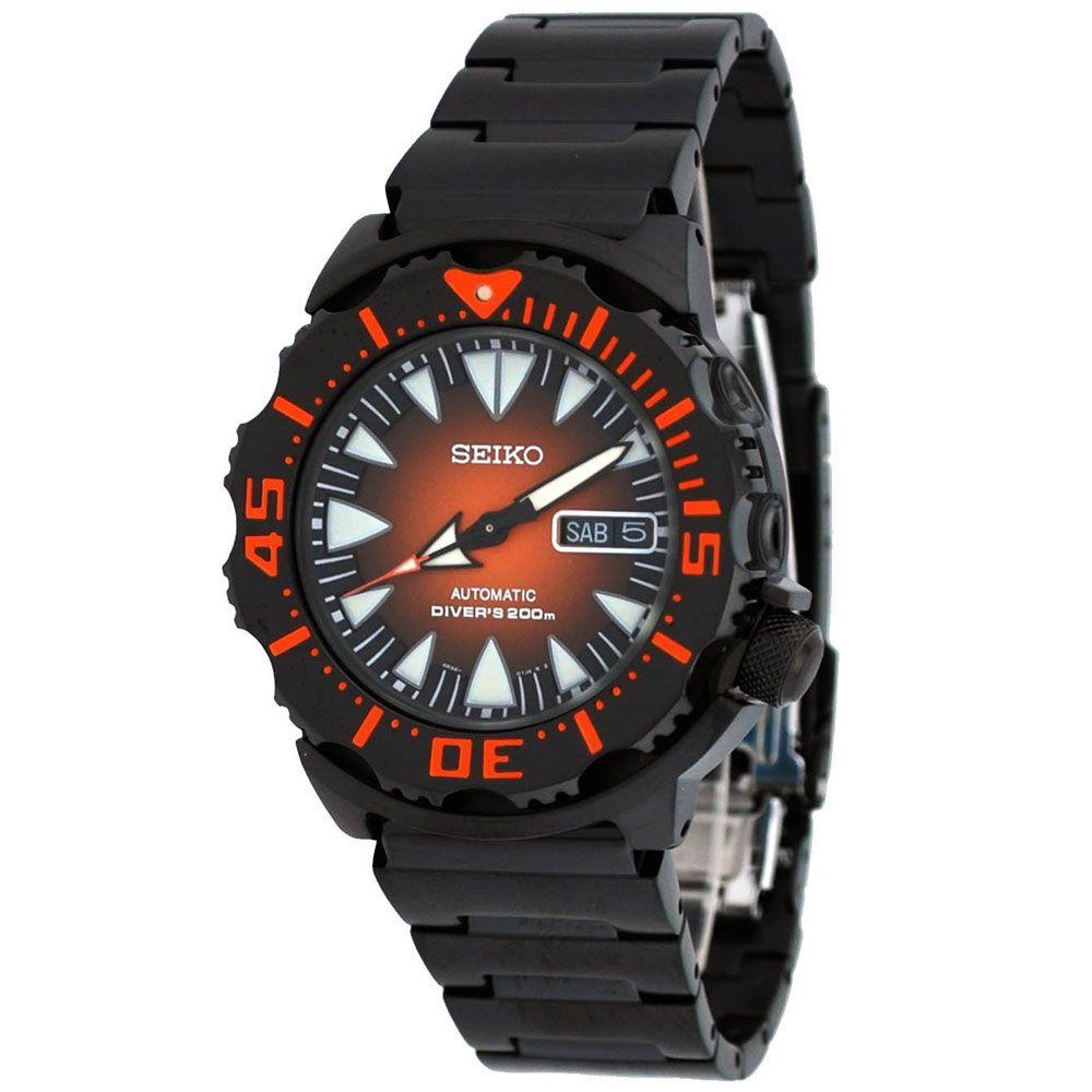 Seiko srp311 mens automatic orange dial black ip steel - Orange dive watch ...