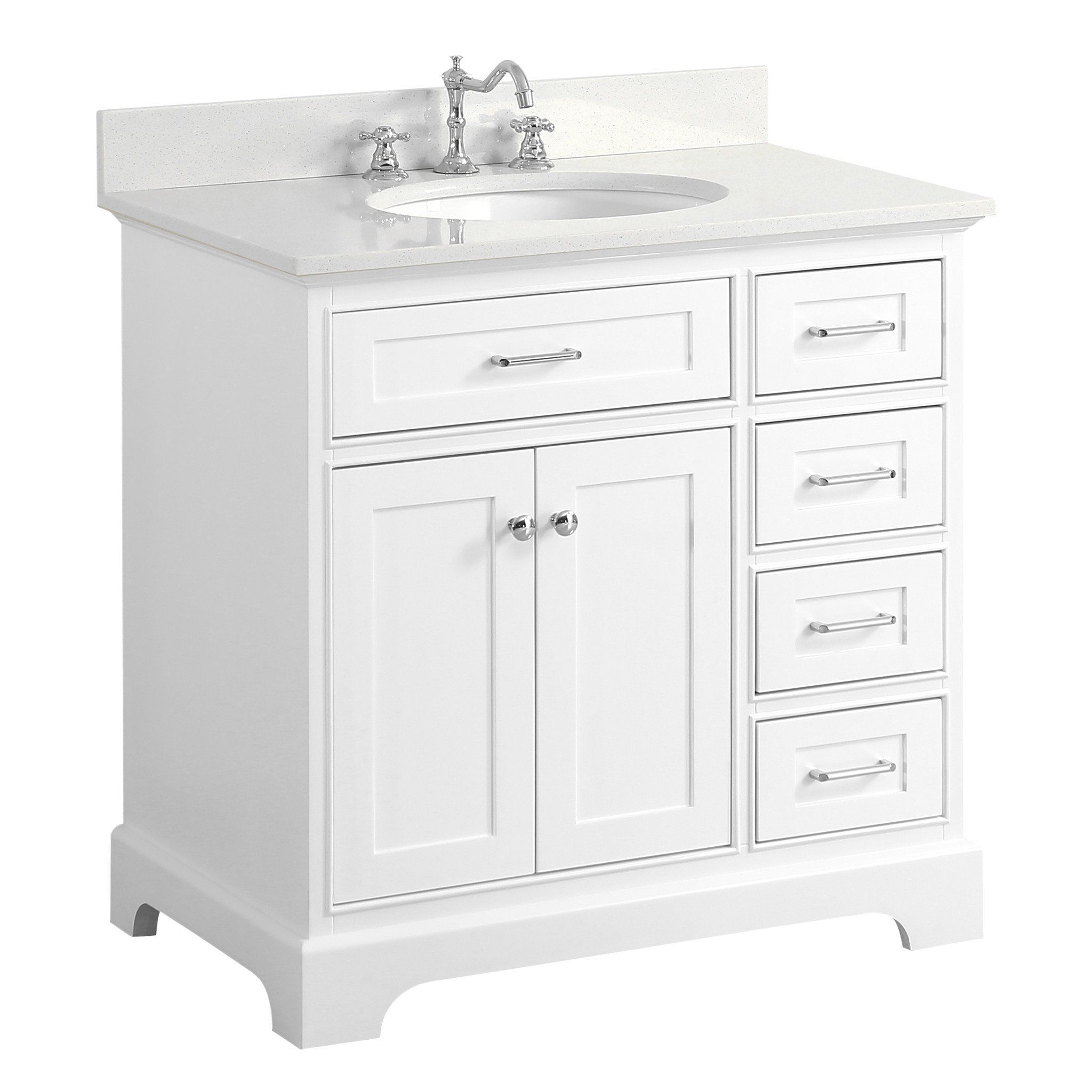 Aria 36 Inch Vanity Quartz White Kitchenbathcollection