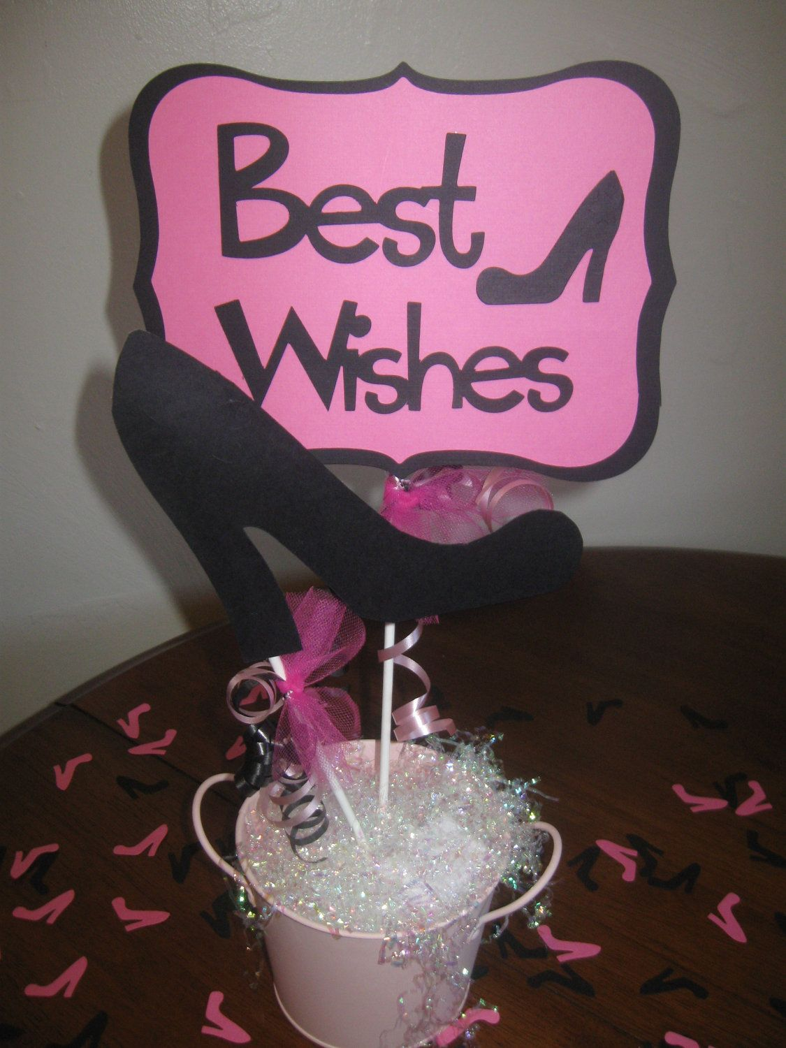 High heel centerpiece table decoration for bridal shower for 40th birthday decoration