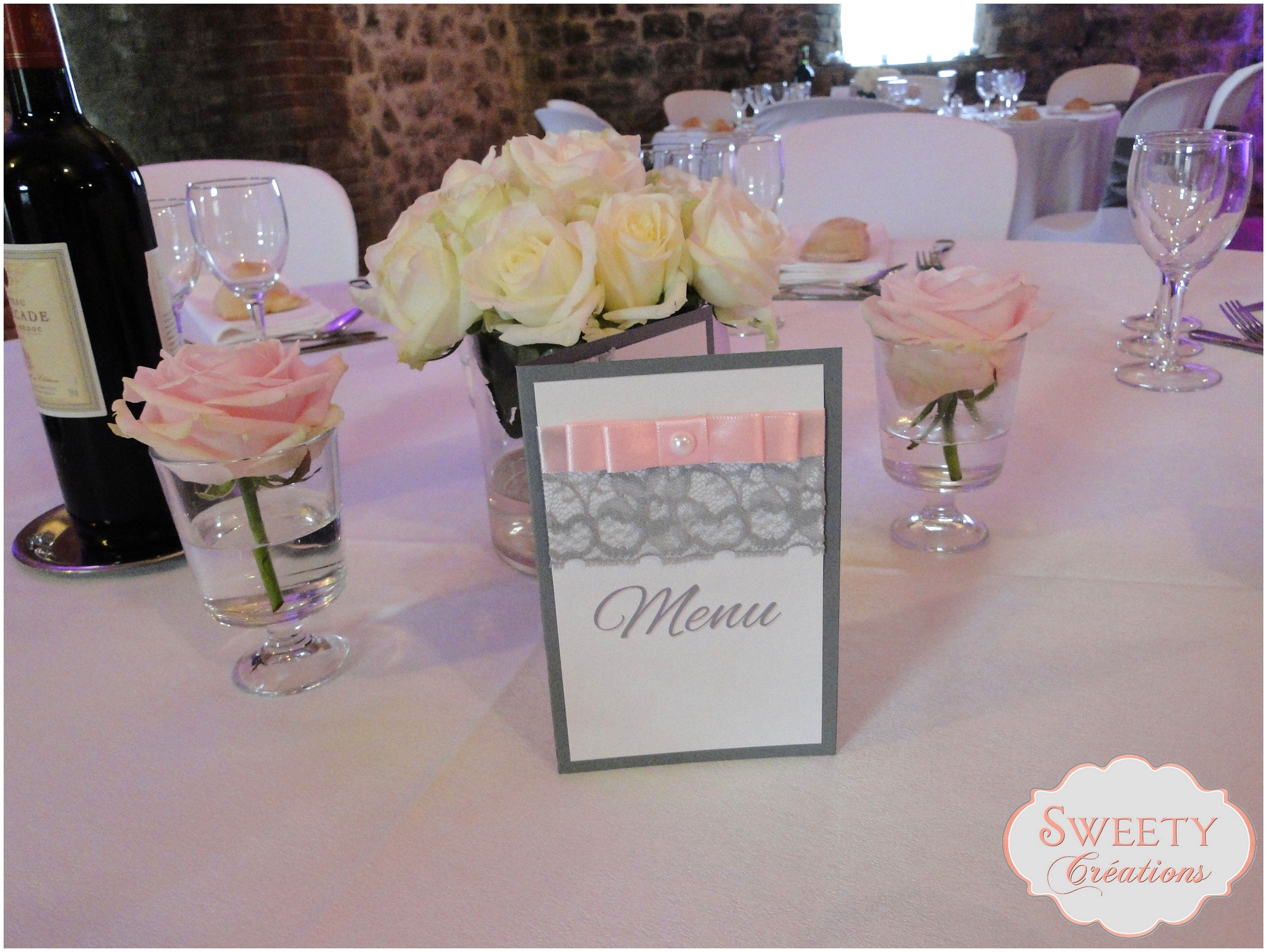 Menu Pour Mariage Th Me Rose Poudr Et Gris Cr Ation Sweety Cr Ations D Coration Table Faite