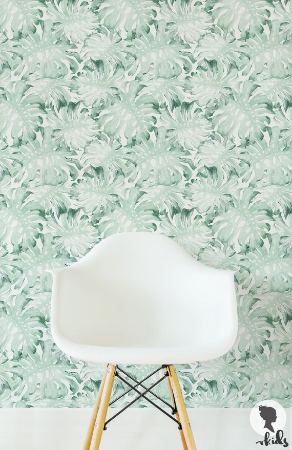 Palm leaves removable wallpaper for girls bedroom, availbale as self ...