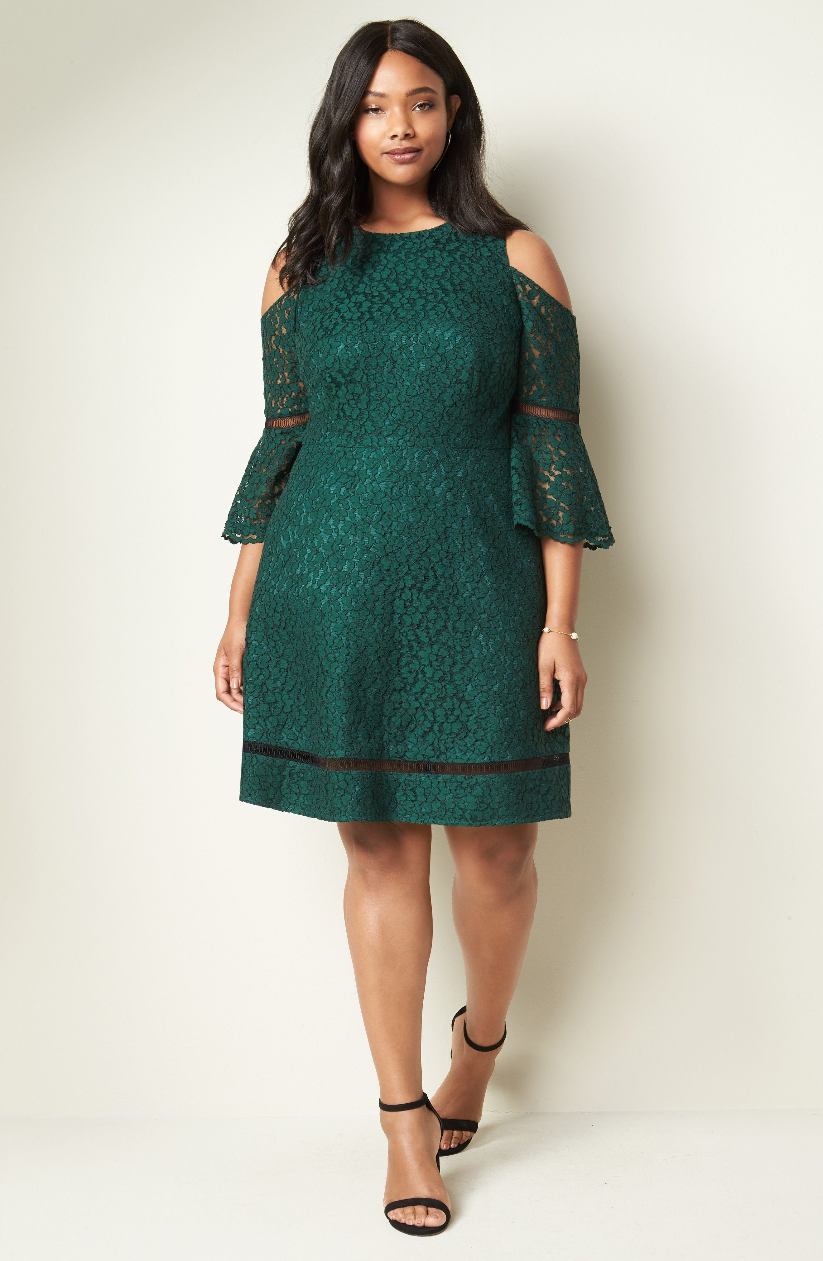 Emerald green lace dress cold shoulder lace dress ad