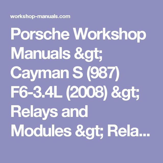 Porsche Workshop Manuals Cayman S 987 F6 3 4l 2008 Relays And Modules Relays And Modules Accessories And Optional Cayman S Porsche Cayman S Porsche