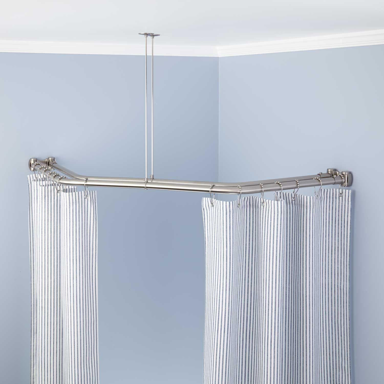 Neo Angle Double Solid Brass Shower Curtain Rod Bathroom With