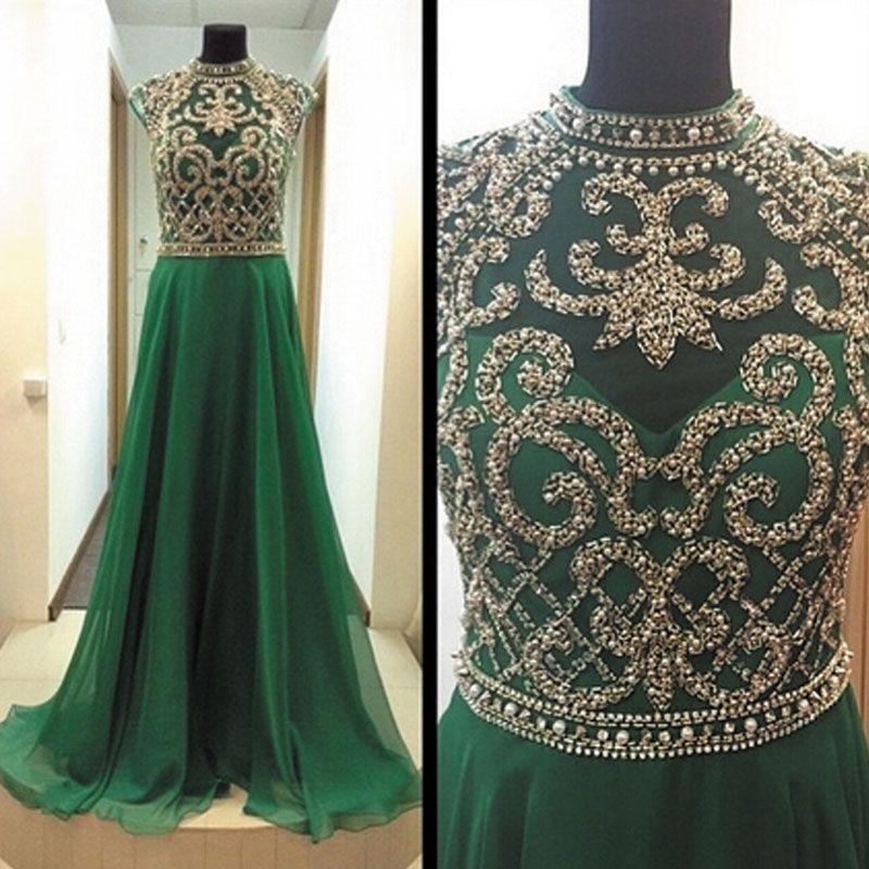 Retro Cap Sleeve Green Prom Dresses | Long evening dresses, Prom ...