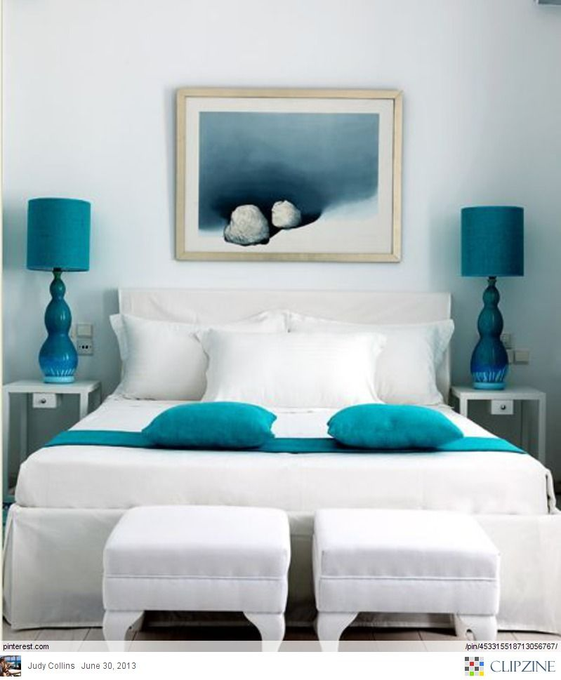 Gorgeous Crisp White Linen With Teal And Turquoise Accessories This Is Stunning Bedroom Decor Home Decor Bedroom Inspirations