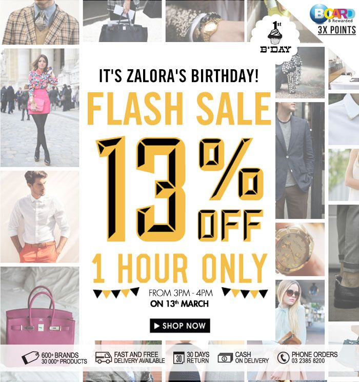 1 Hour Flash Sale At Zalora Flash Sale Phone Orders Sale