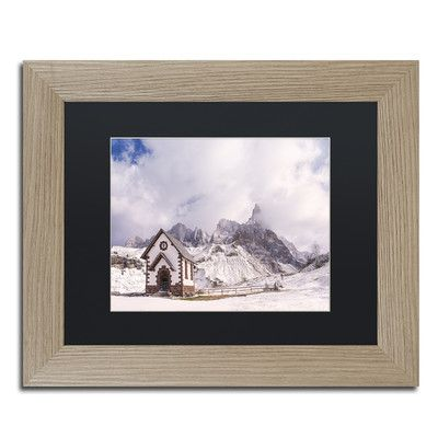 "Trademark Art 'Alpine Chapel' by Michael Blanchette Framed Graphic Art Size: 11"" H x 14"" W x 0.5"" D, Matte color: Black"