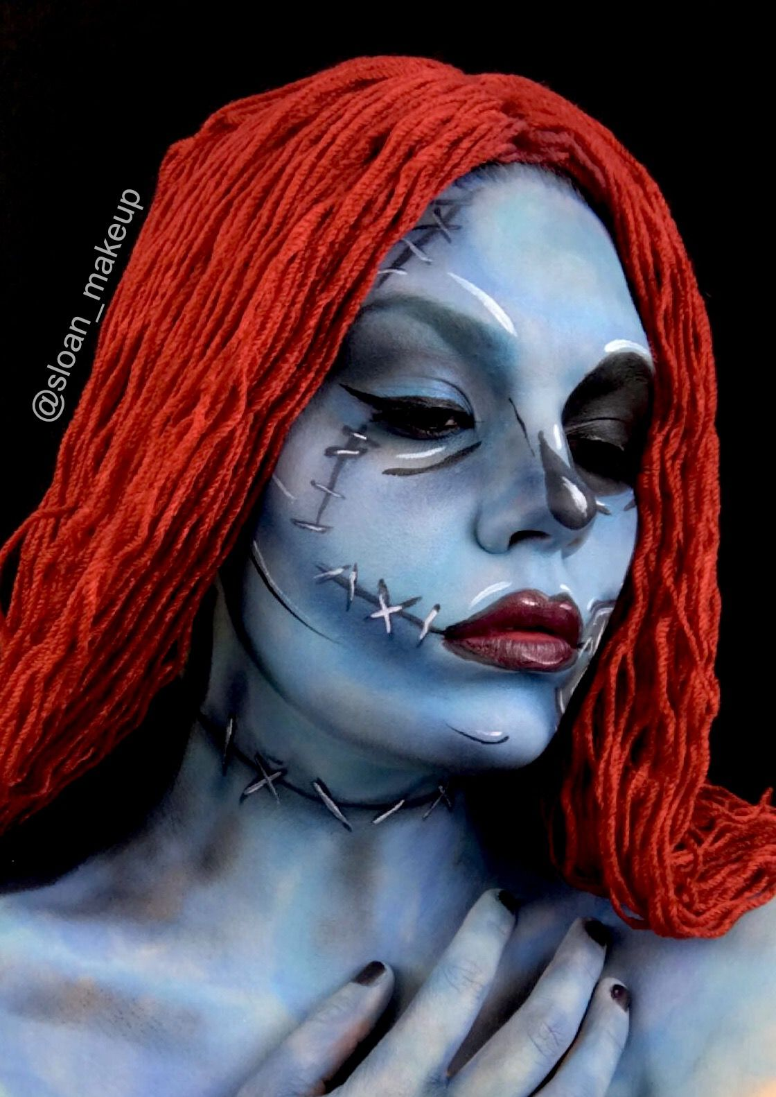 Pop art Sally makeup from the nightmare before Christmas