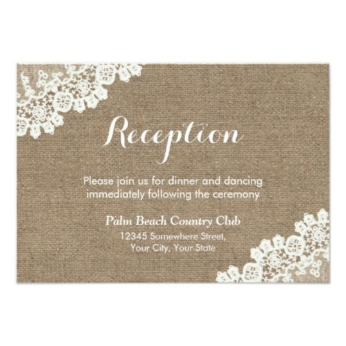Shabby Chic Wedding RSVP Invitations Rustic Lace Burlap Reception Card