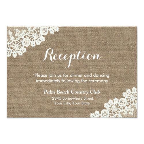 Shabby Chic Wedding Reception Rustic Lace Burlap Card