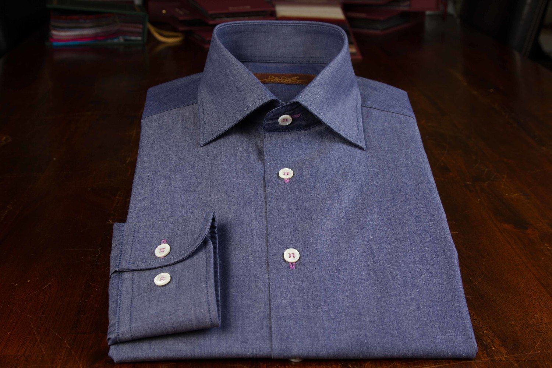 Pink dress shirt blue suit  Denim Blue Dress Shirt u De Oost Bespoke Tailoring  Bespoke Dress