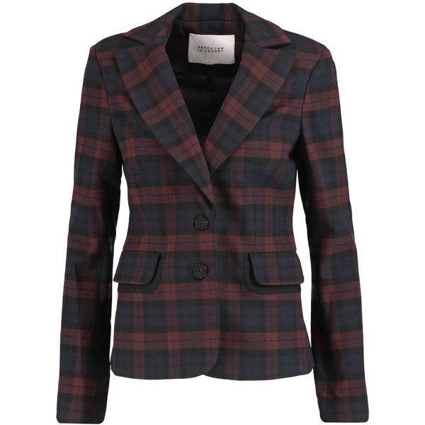 Derek Lam 10 Crosby Plaid stretch-knit blazer ($265) ❤ liked on Polyvore