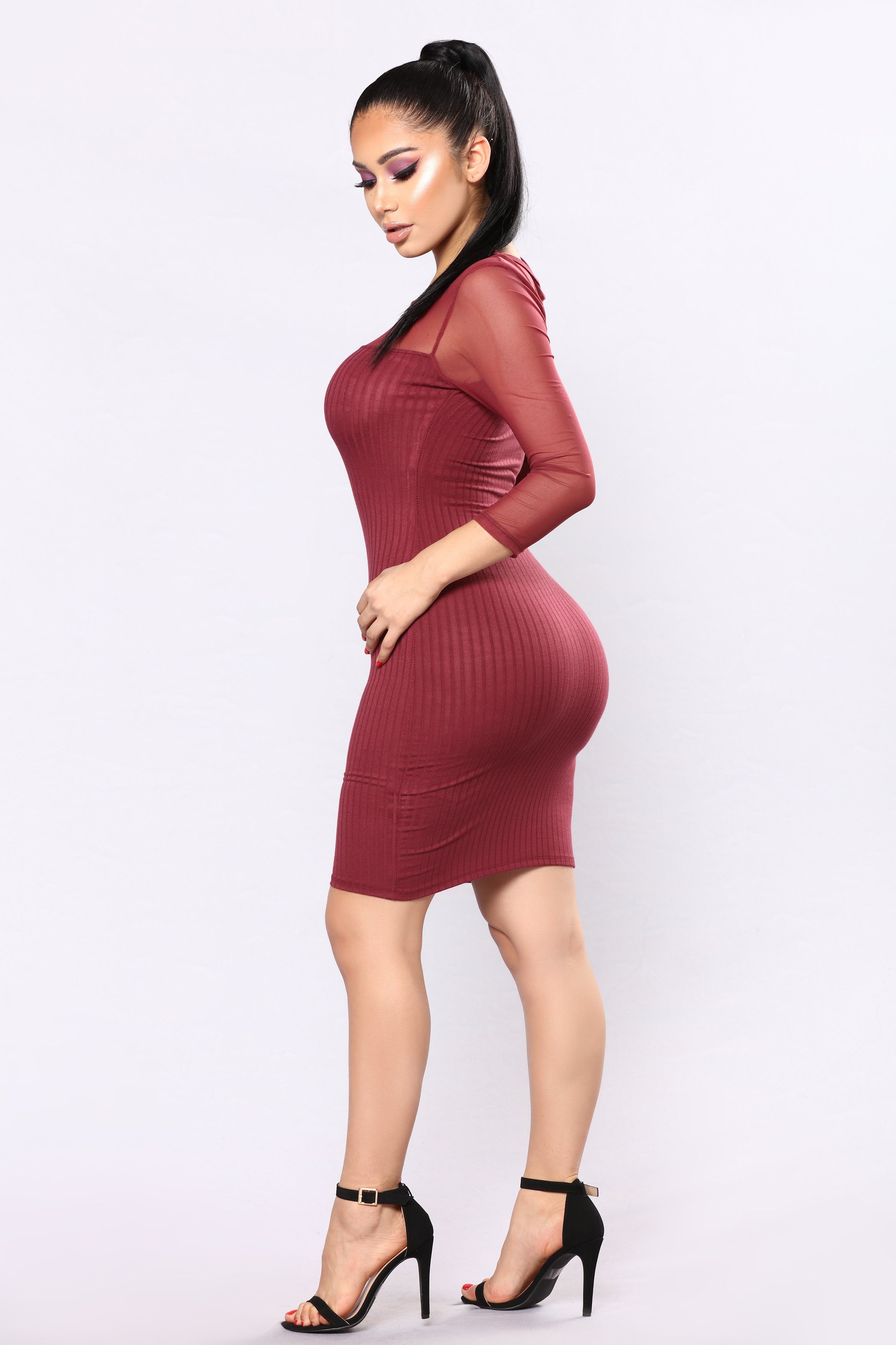 Gianna mesh dress wine mesh dress mauve and curves