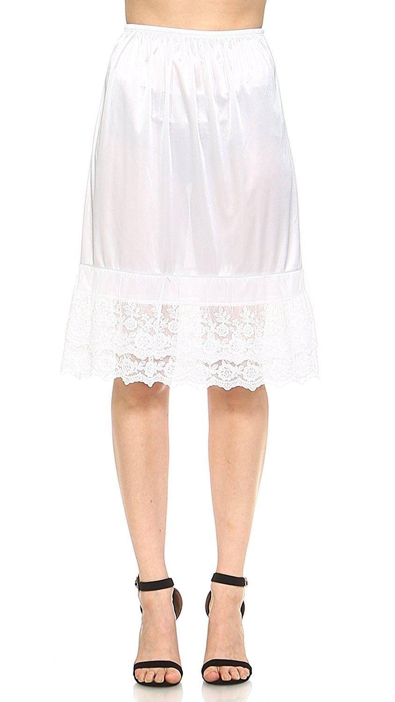 White Lace Skirt Extender Slip,Dress Extender Slip WITH LENGTH OPTION