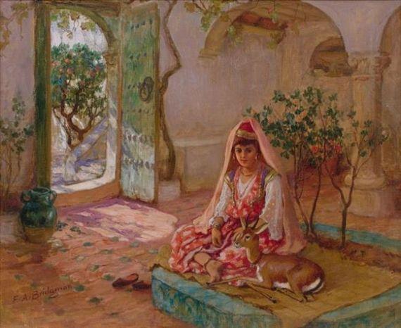 Frederick arthur bridgman algerian beauty orientalisme for Peinture satinee algerie prix
