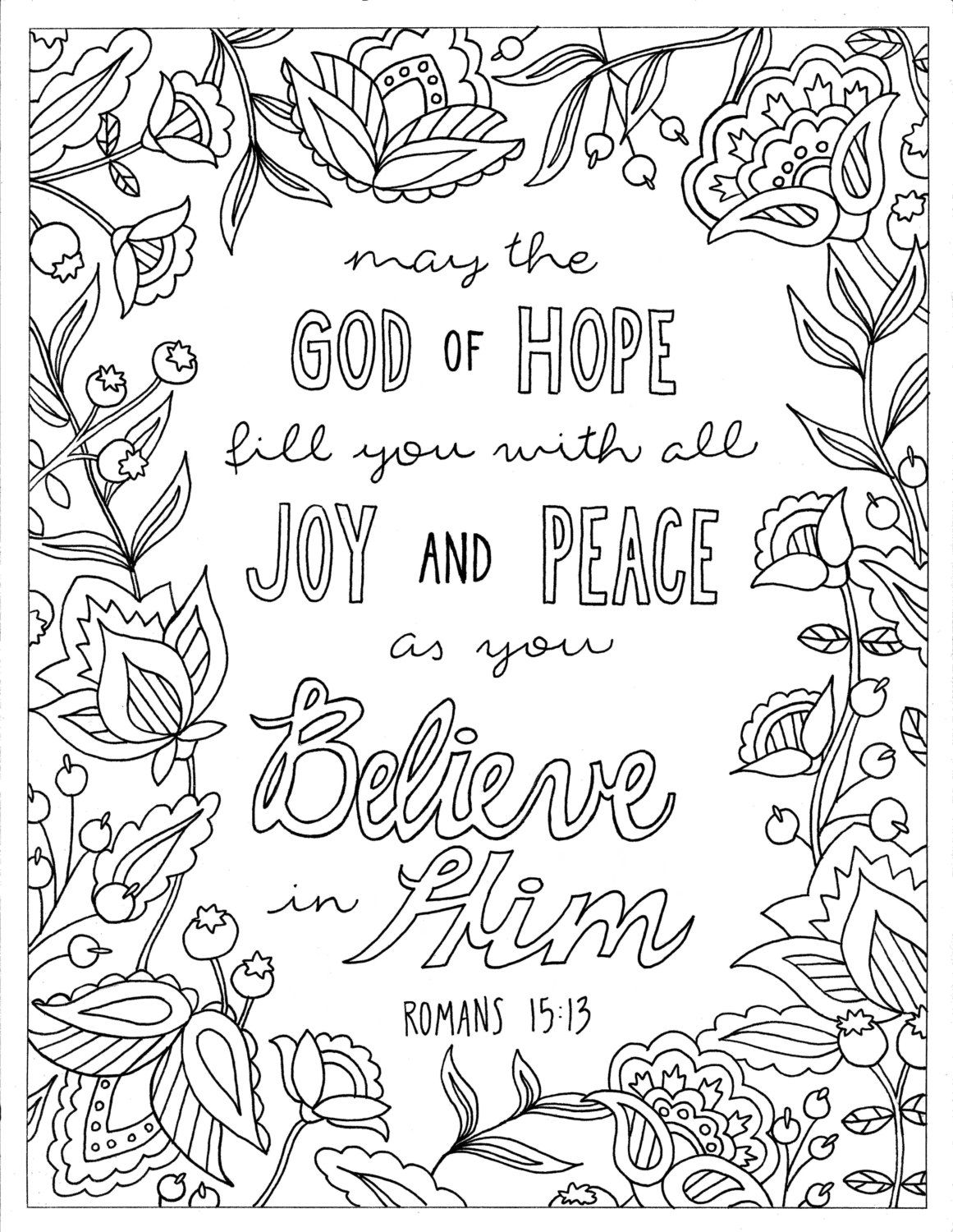 God Of Hope Coloring Page Romans 15 13 Printable Coloring Christian Coloring Inspirational Coloring Instant Digital Download Bible Verse Coloring Page Christian Coloring Bible Verse Coloring