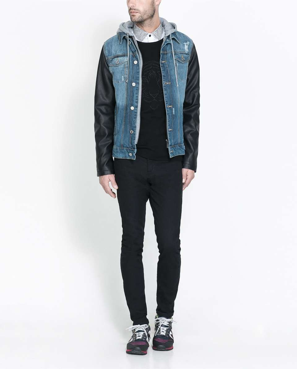 Zara DENIM JACKET WITH FAUX LEATHER SLEEVES | mens denim jacket ...