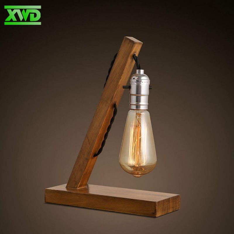 Modern Single Desktop Wooden Table Lamp E27 Lamp Holder 110 240v Foyer Bedroom Indoor Study Lighting Free Shipp Lampadas De Garrafa Luminaria Abajur De Madeira