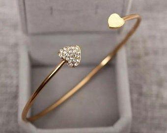 Wedding Tiny Heart Bridesmaids Bridal Layering Bangle Stacking Bangle Silver Plated Bracelet Minimalist Heart Bracelet
