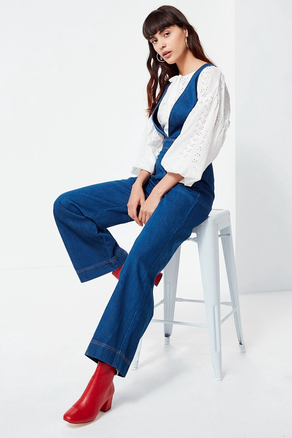 b732de16cc0f UO Eleanor Plunging Denim Jumpsuit by Urban Outfitters in 2019 ...