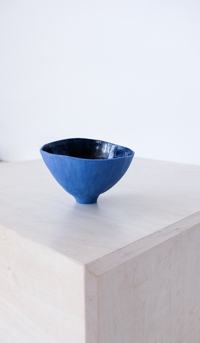 Blue Stoneware Bowl with Carved Decoration