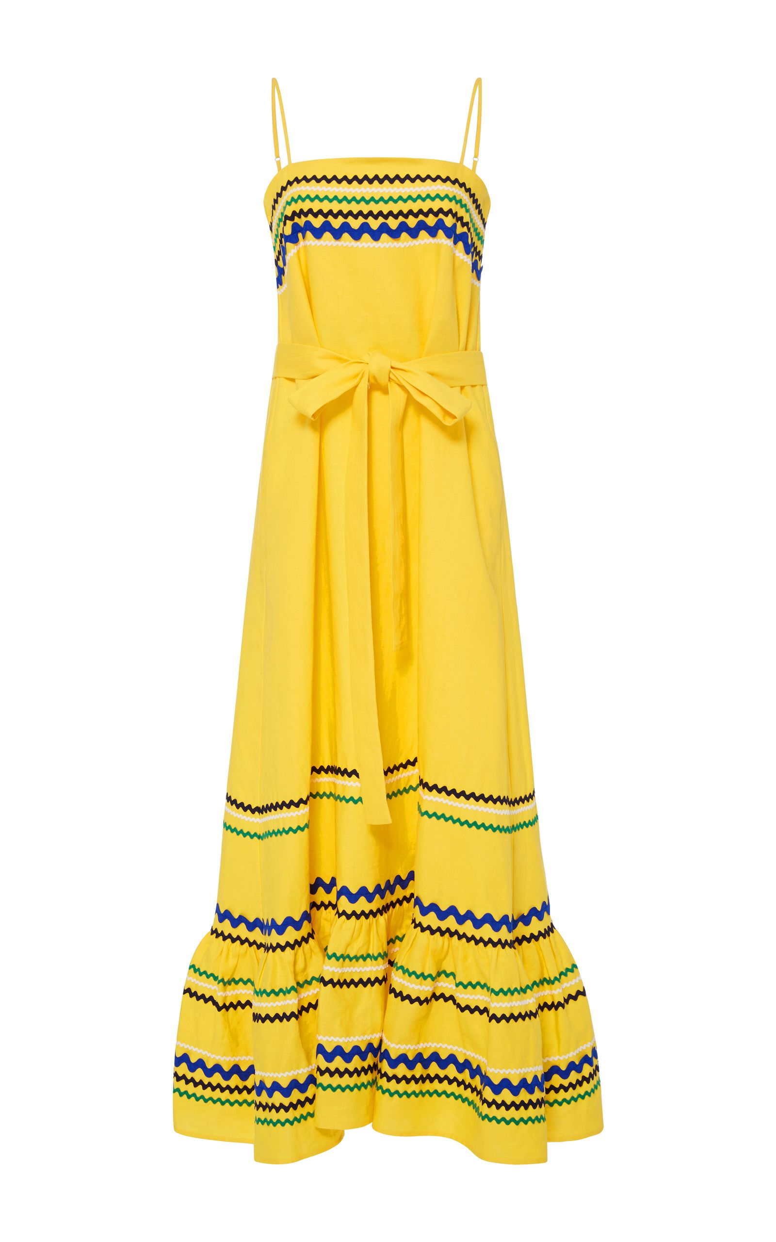 Long tiered spaghetti strap dress yellow linen with ricrac lisa