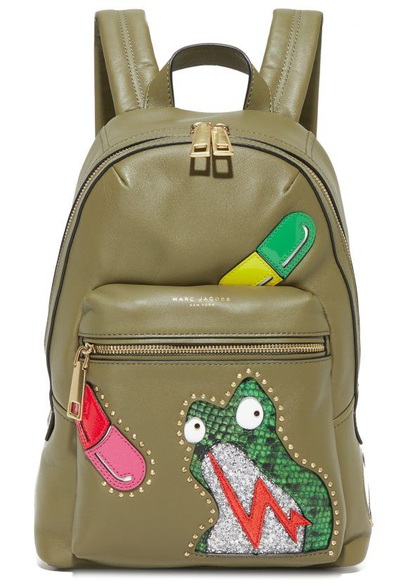 verhoeven biker bag backpack by Marc Jacobs. A petite Marc Jacobs backpack  in smooth leather with limited-edition appliqué graphics. Zip front pocket  and ... 916a8a7ce89ff