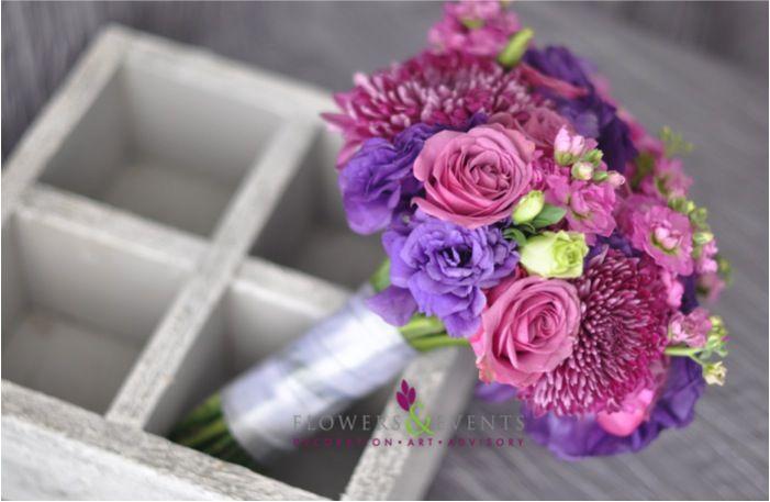 Bouquet Purple Morado Roses Mini Roses Lisianthum Crisantemo