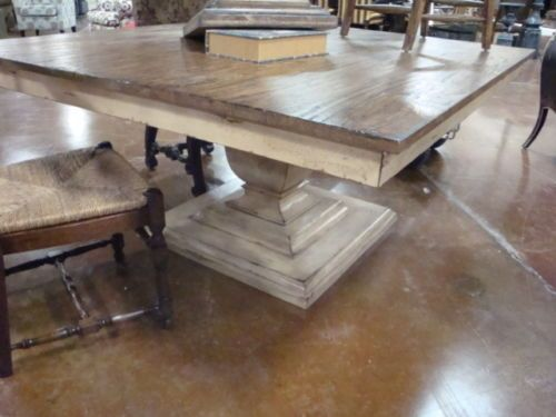 Square Base Tuscan Dining Table Reclaimed Wood Top Gathering Table