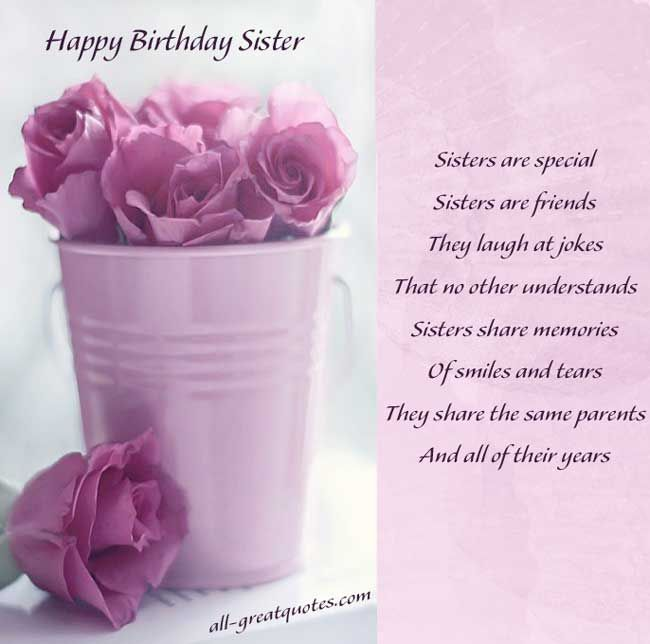 Cards For Sisters Are Special Sisters Are Friends Happy Birthday Sister Quotes Birthday Wishes For Sister Birthday Wishes For Myself
