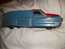 vintage/antique toy metal farm truck w/wooden wheels made in u.s.a.