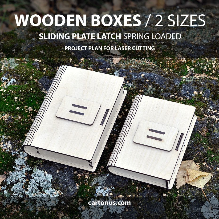 Box with sliding plate latch spring loaded. 2 sizes. Lasercut vector ...
