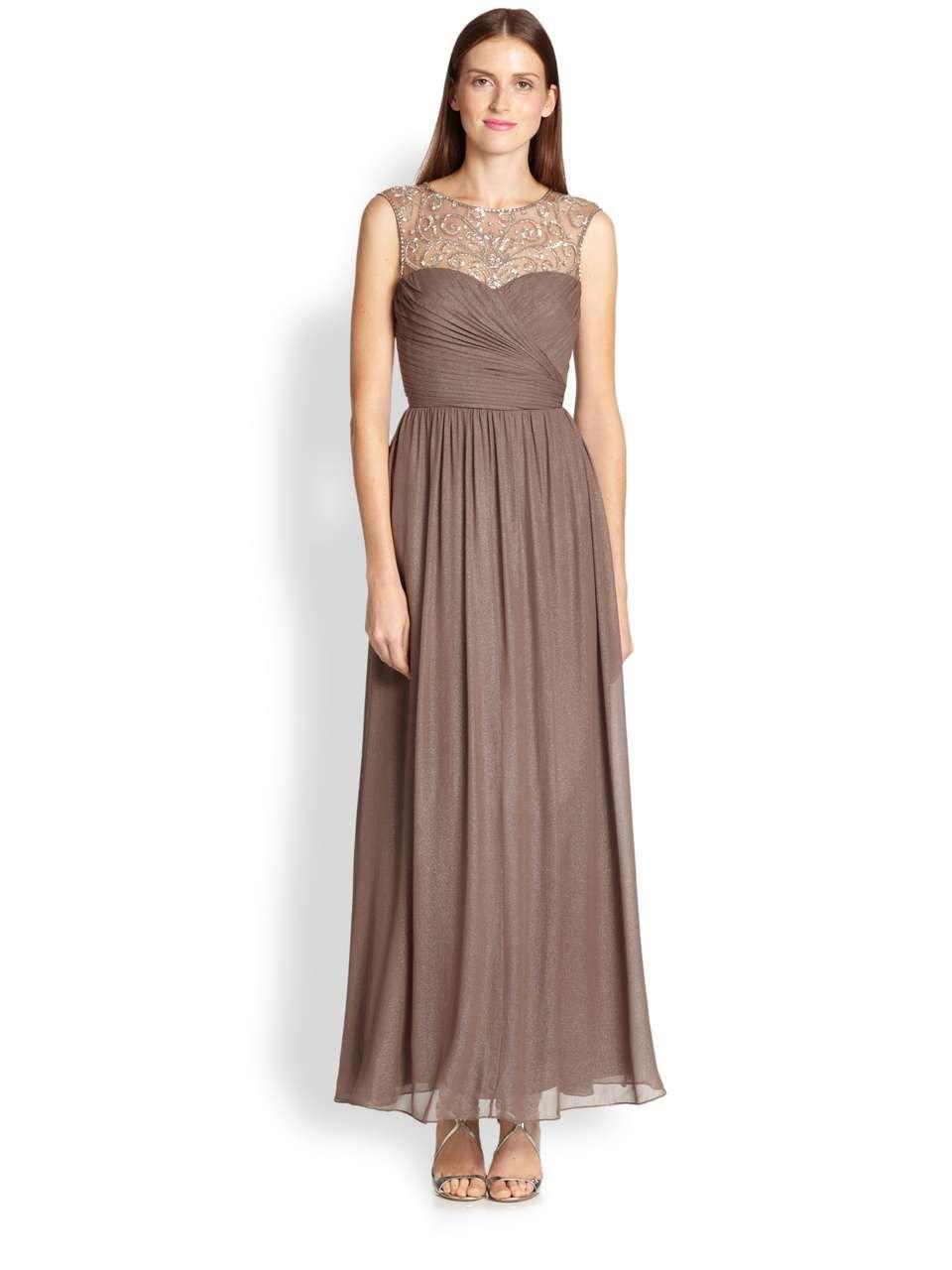 Aidan Mattox | Metallic Silk Chiffon Gown #aidanmattox #gown ...