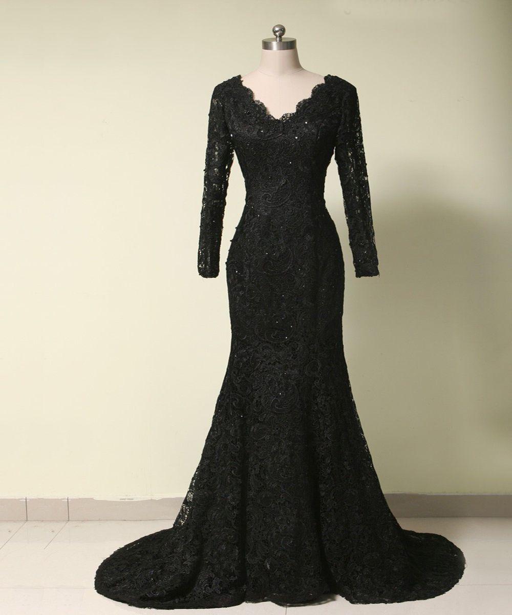 Elegant black lace evening dresses v neck beaded long sleeve