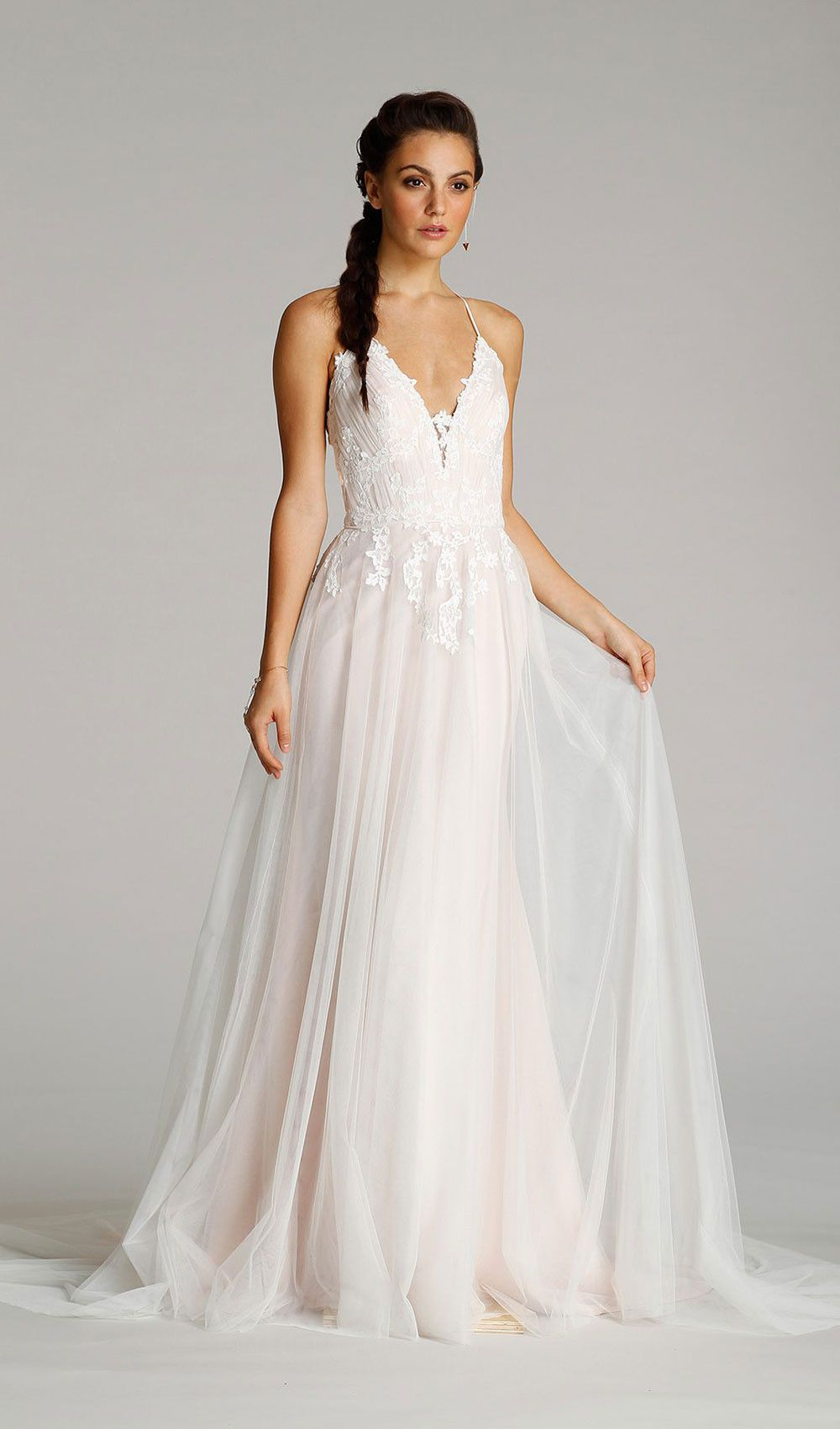 Try this ivory / tea rose english net modified A-line wedding dress ...