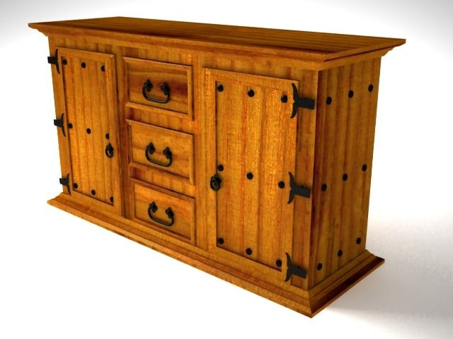 Rustic Aparador Furniture 3D Model - 3D Model 3D-Modeling Pinterest