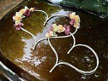 Svadba - VÝPREDAJ! Ozdoba na auto srdcia broskyňovo-ružové - 4003666_