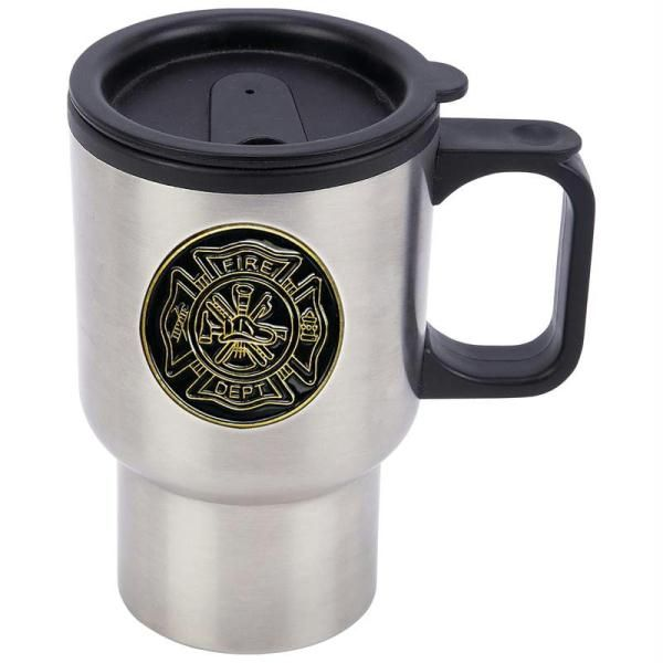 Maxam 14oz Stainless Steel Travel Mug With Fire Department Medallion