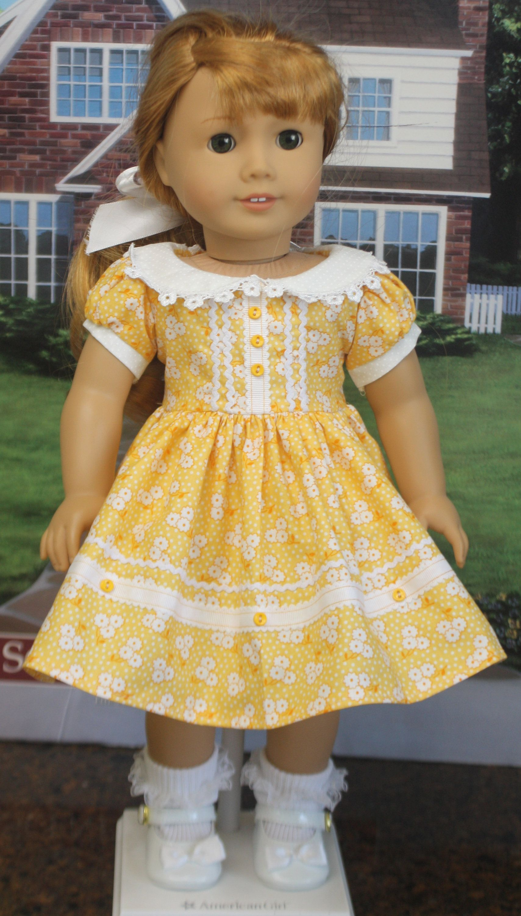 "BEES ON BLUE DRESS /& HEADBAND--MADE TO FIT 15/"" GIRL DOLL"