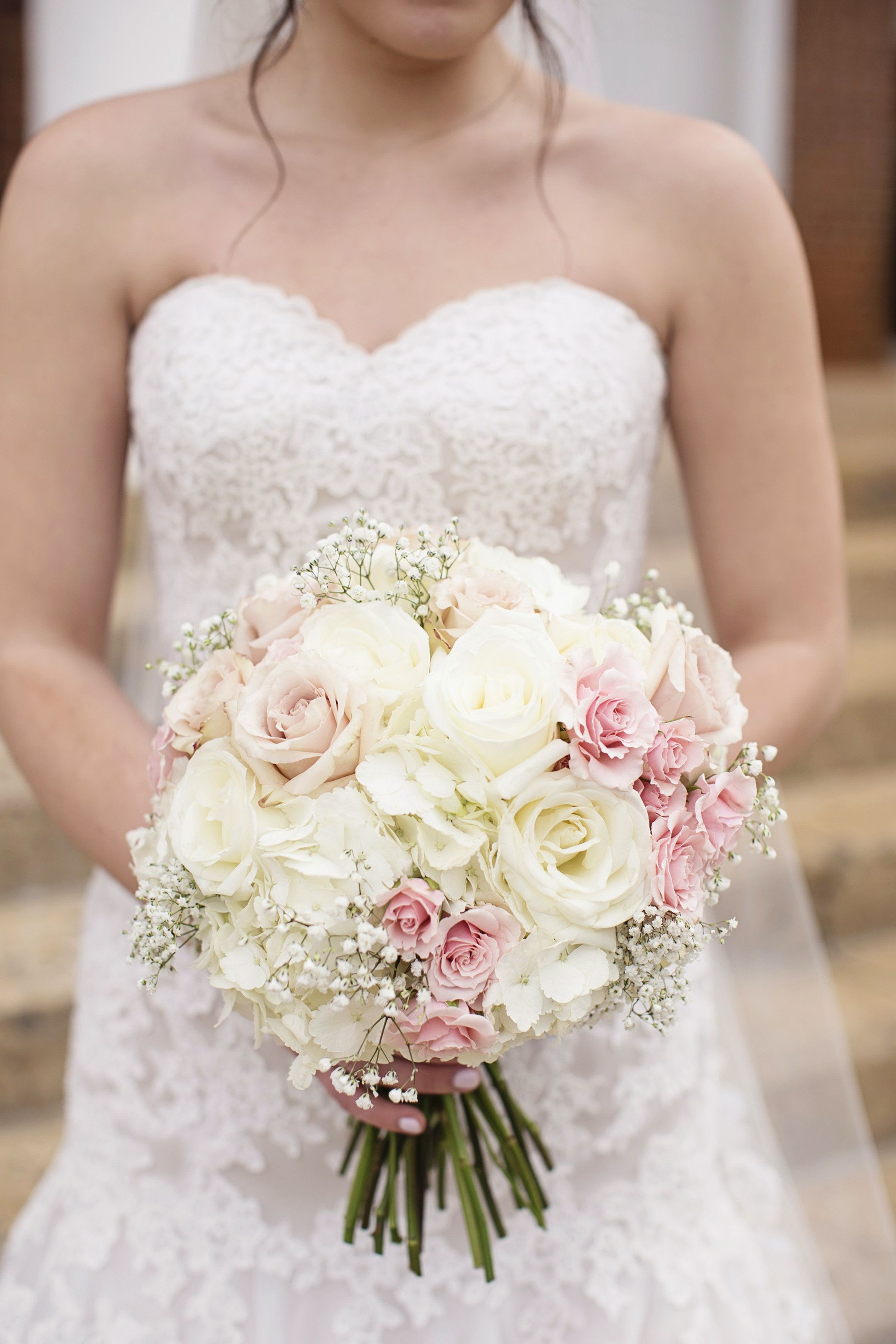 Wedding Bridal Bouquet With Light Pink Light Peach And Ivory