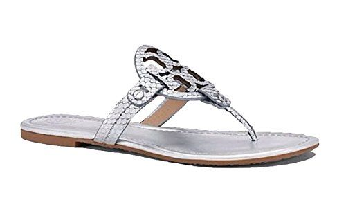 7999220a1975 Tory Burch Miller Metallic Glossy Snake Print Logo Leather Sandal Silver 75    This is an Amazon Affiliate link. Be sure to check out this awesome  product.