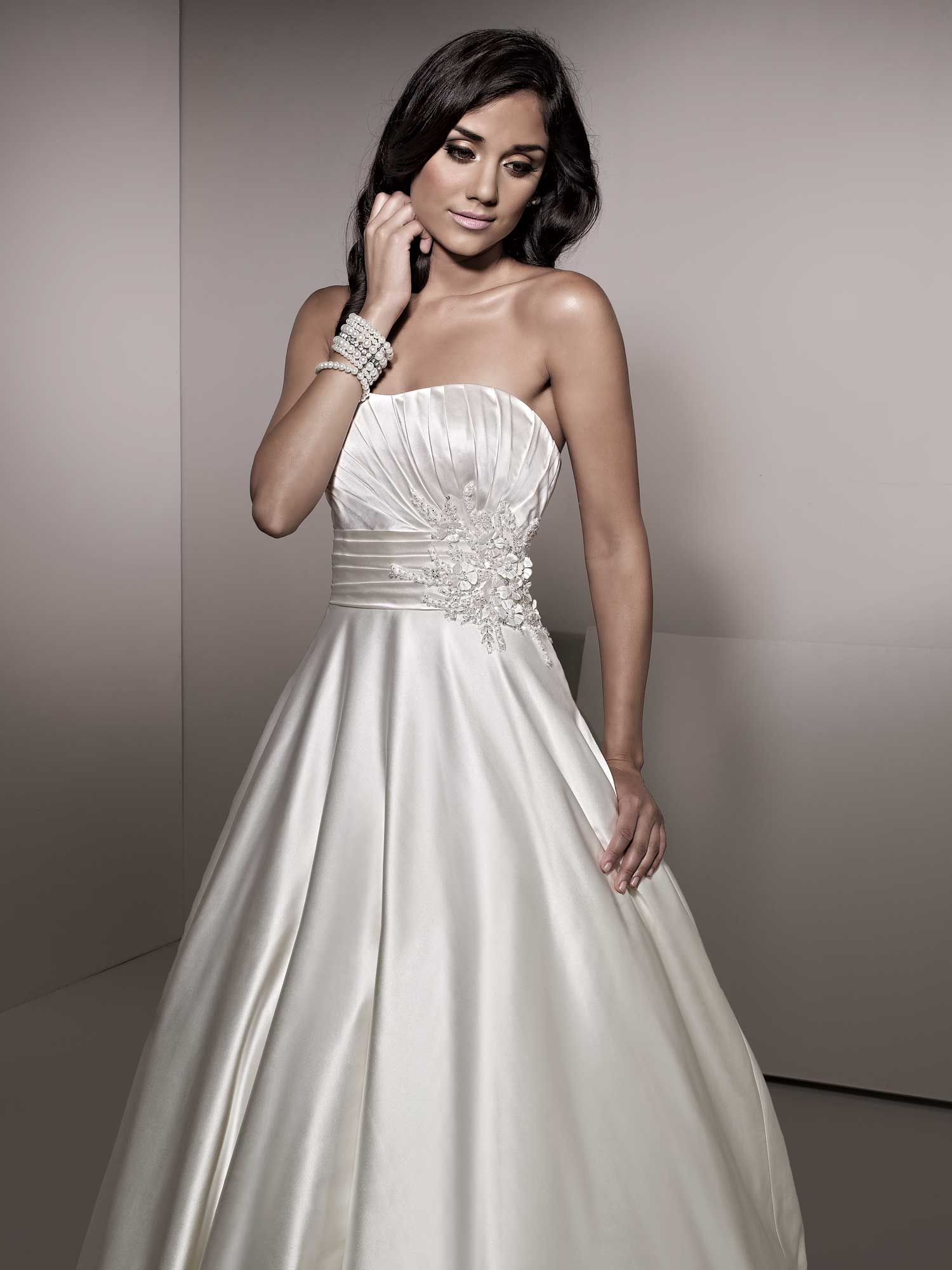 A line fabric silky pearl satin neckline strapless silhouette bridal gowns ombrellifo Image collections