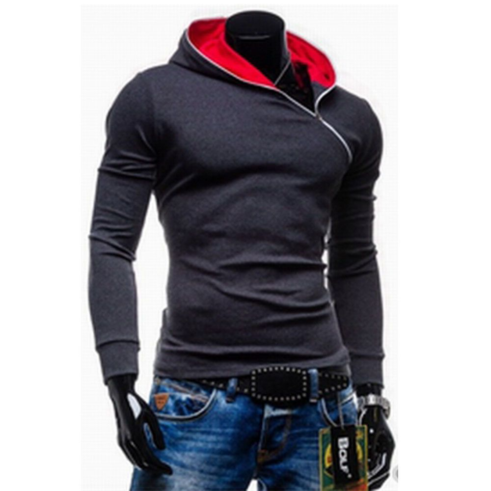 Wholesale Trendy Long Sleeves Hooded Personality Inclined Zipper Design  Slimming Solid Color Men's Cotton Blend Hoodies (DEEP GRAY,M)